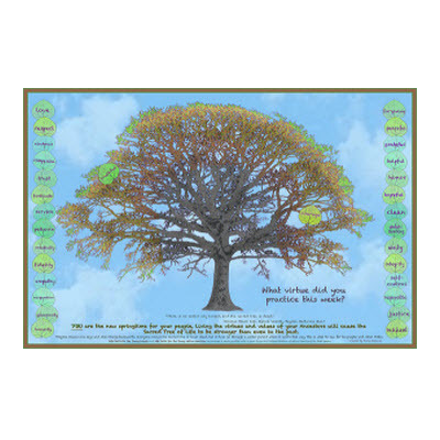Virtues Tree poster (students add virtues leaves to tree)